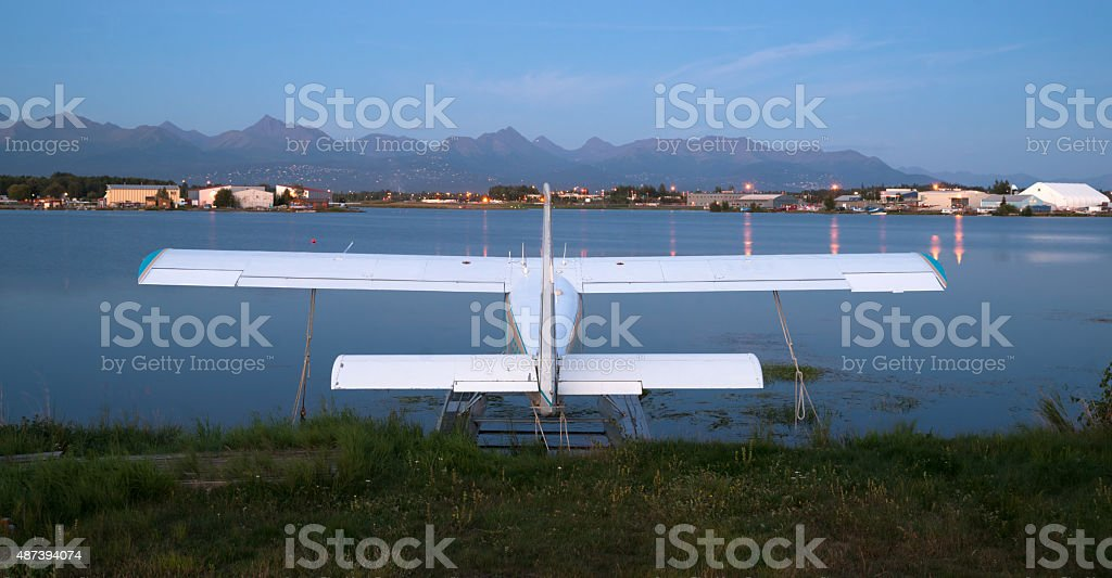Bush Plane Prop Airplane Airport Anchorage Chugach Mountains stock photo