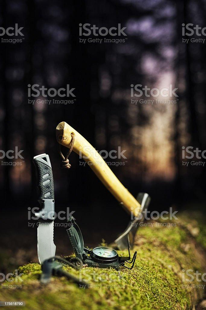 bushcraft equipment stock photo