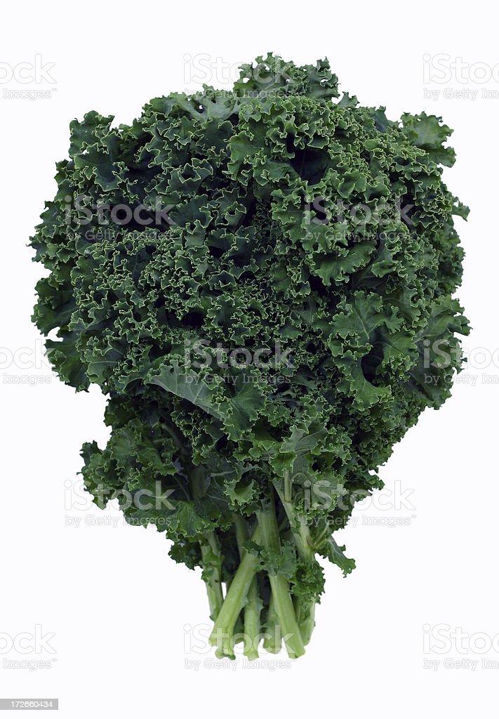Bushel of green kale on white background stock photo