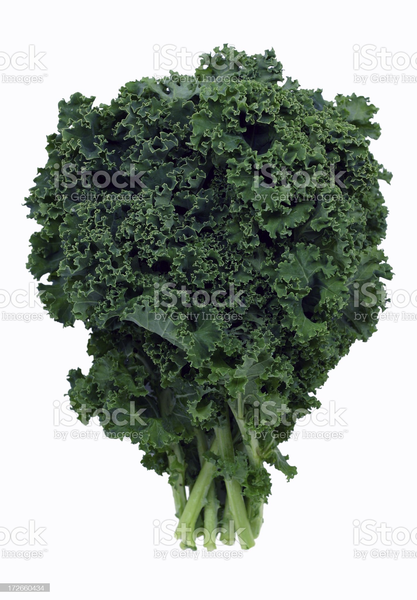 Bushel of green kale on white background royalty-free stock photo