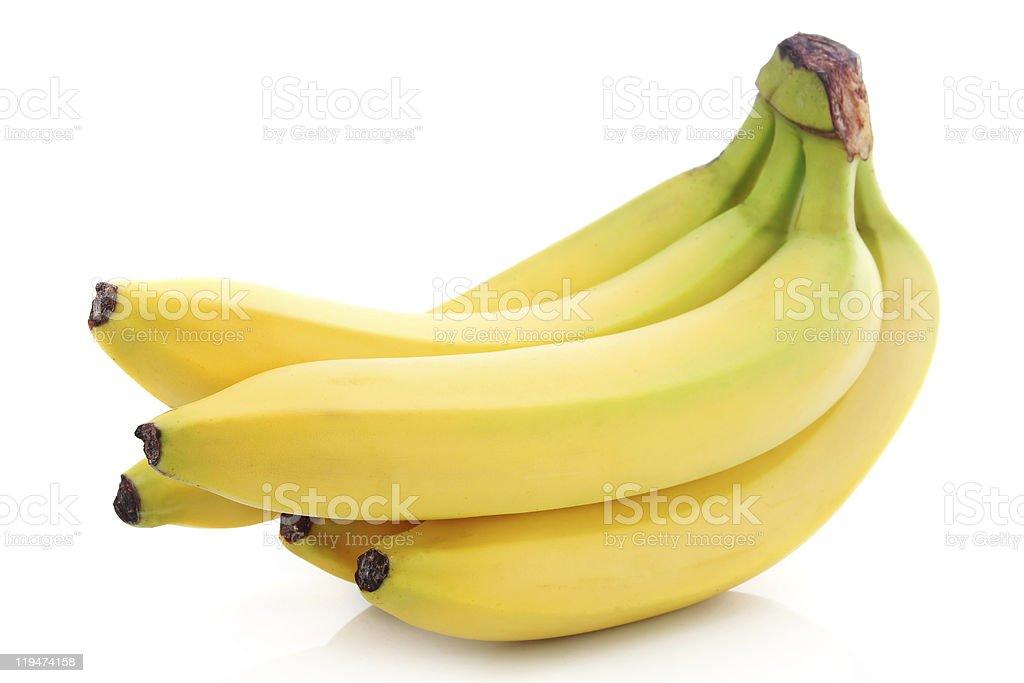 Bushel of ripe bananas on a white background royalty-free stock photo