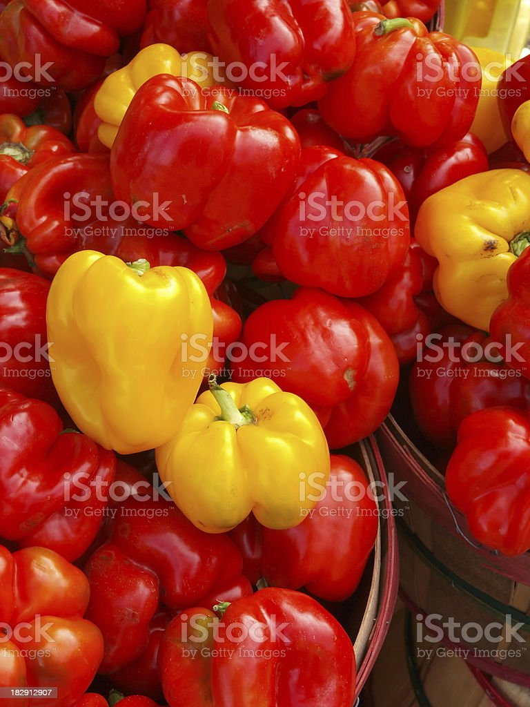Bushels of Peppers at market stock photo