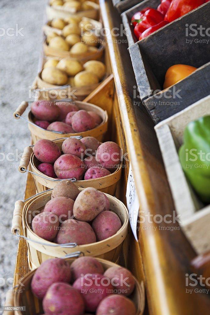 Bushels of Red and White potatos royalty-free stock photo