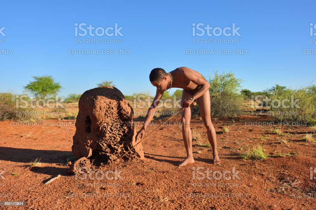 Bushman hunter, Kalahari desert, Namibia stock photo