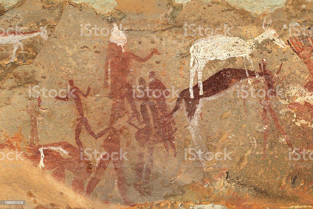 Bushmen rock painting stock photo