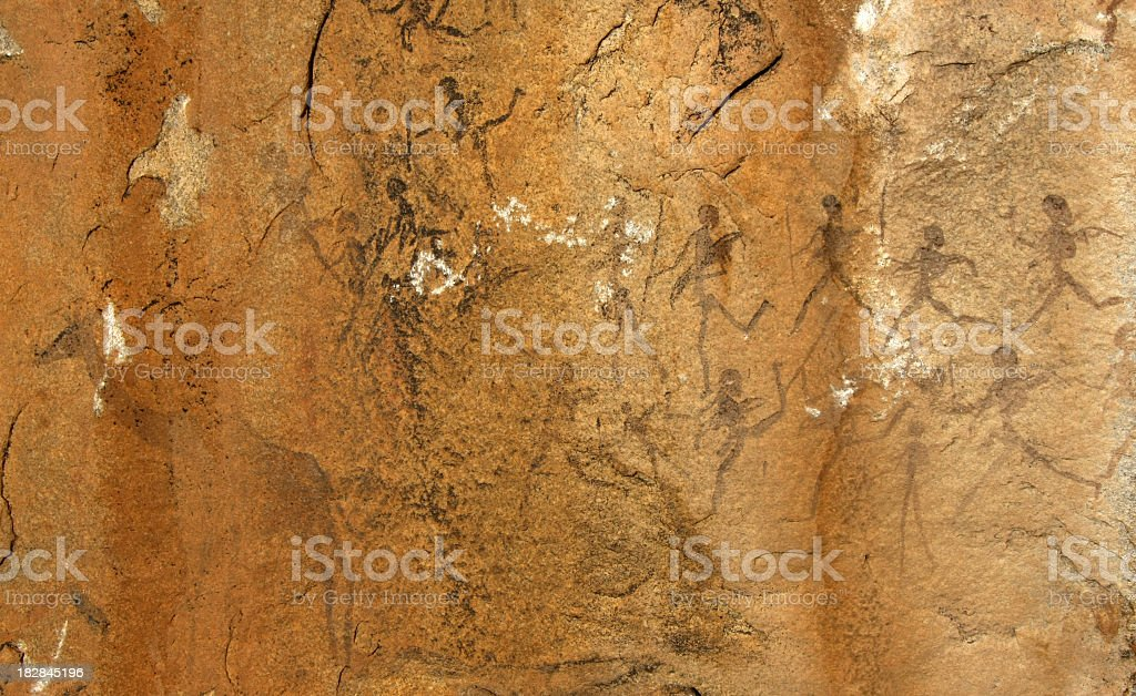 bushmen rock painting royalty-free stock photo