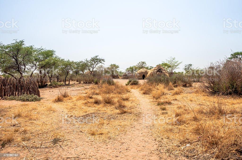 Bushmen village in Botswana stock photo