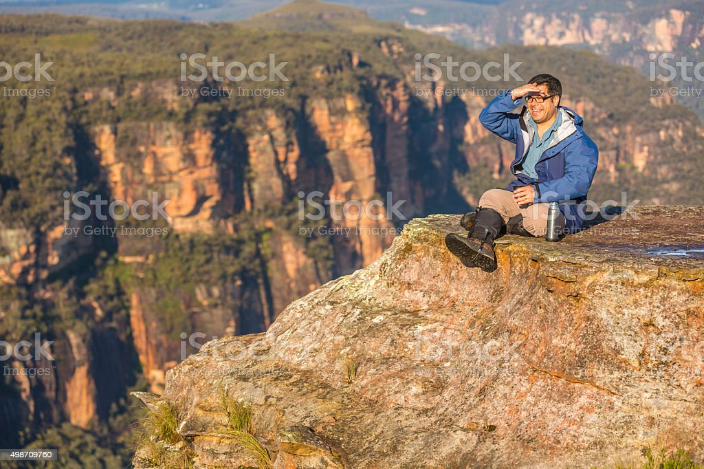 Bushwalker in Spectacular Landscape stock photo
