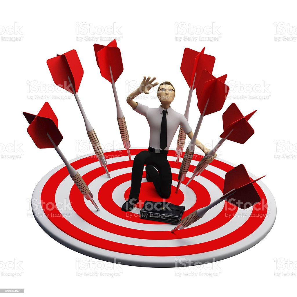Businassman standing on the archery board. Conceptual business illustration royalty-free stock vector art