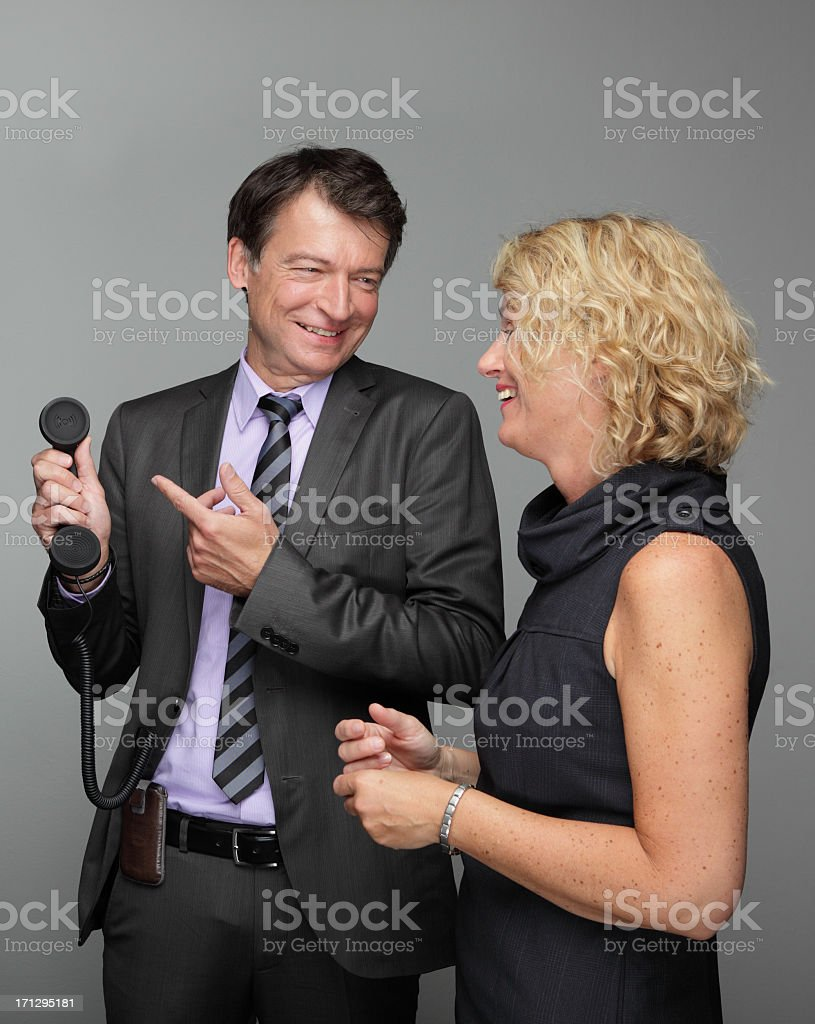 Busines man and woman with telephone royalty-free stock photo