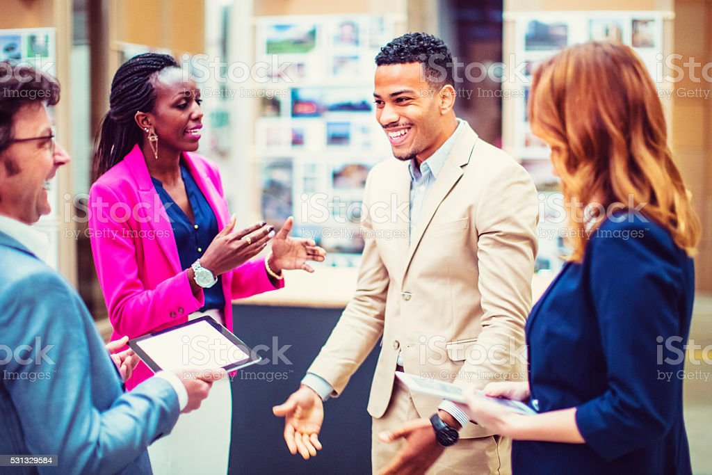 Busines people, product presentation, gallery, museum stock photo