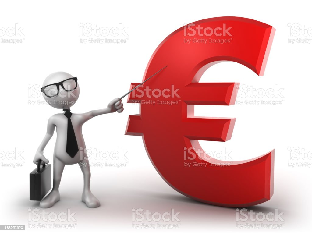 Busines presentation: Euro sign, isolated with clipping path royalty-free stock photo