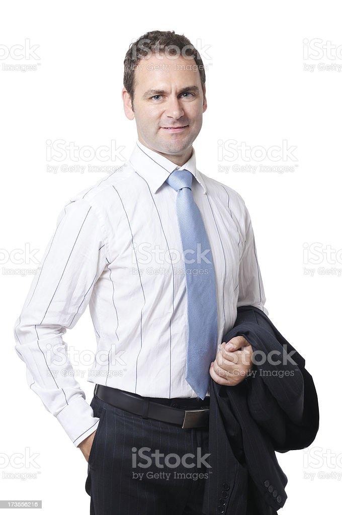 Businesman holding jacket royalty-free stock photo