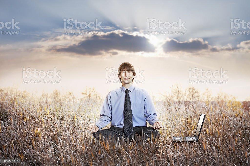 Businesman Meditating stock photo