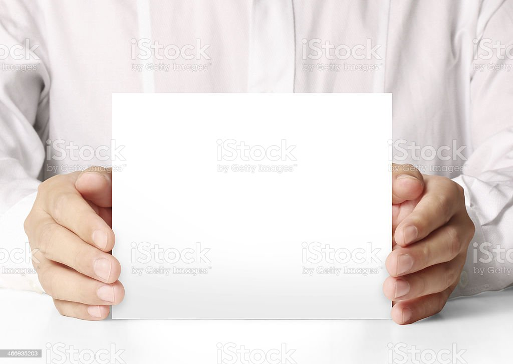 business a4 card over in hand royalty-free stock photo