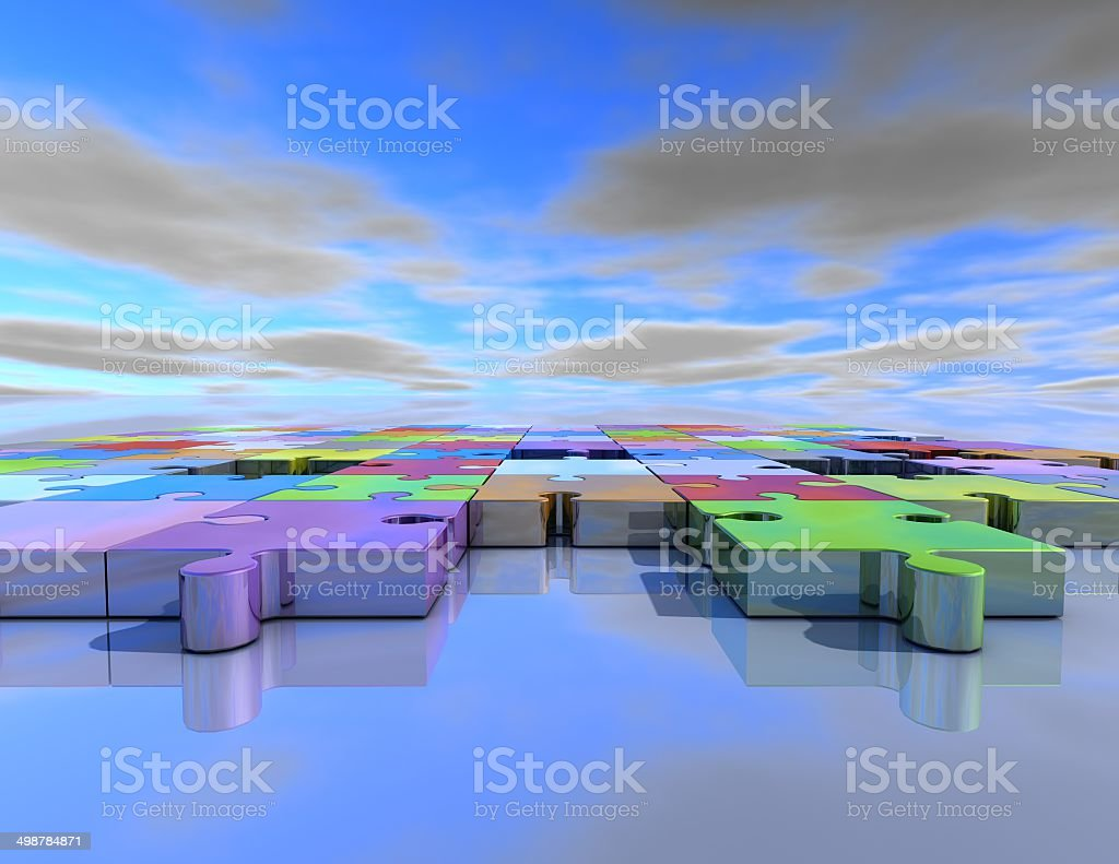 business abstract background with jigsaw puzzles stock photo