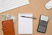 Business accessories on wooden desk background