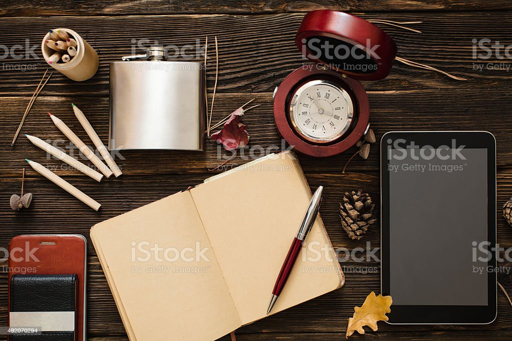 Business accessories on wooden table stock photo