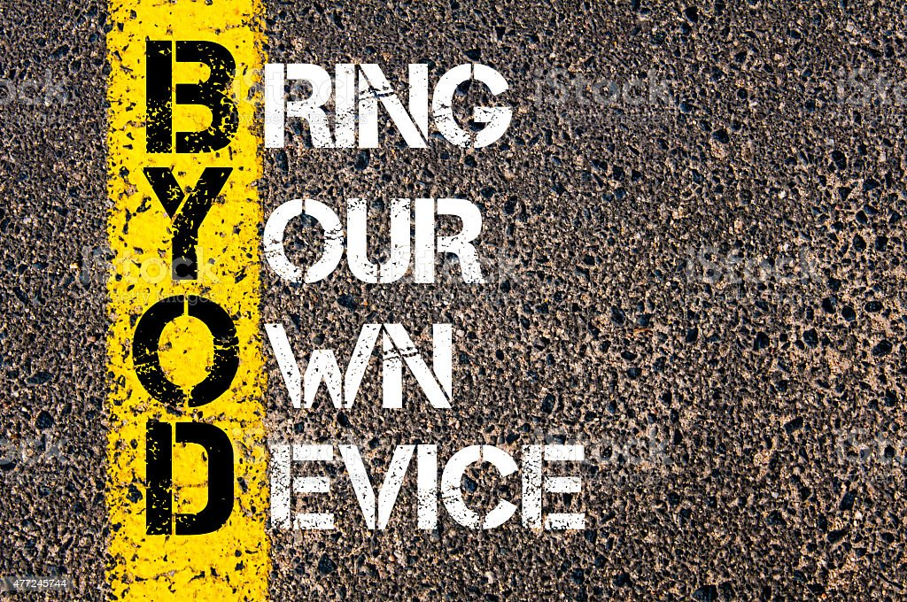 Business Acronym BYOD as BRING YOUR OWN DEVICE stock photo