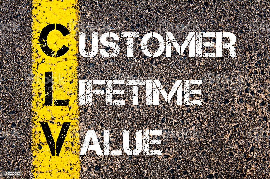 Business Acronym CLV as CUSTOMER LIFETIME VALUE stock photo
