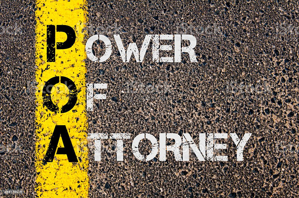 Business Acronym POA as Power Of Attorney stock photo