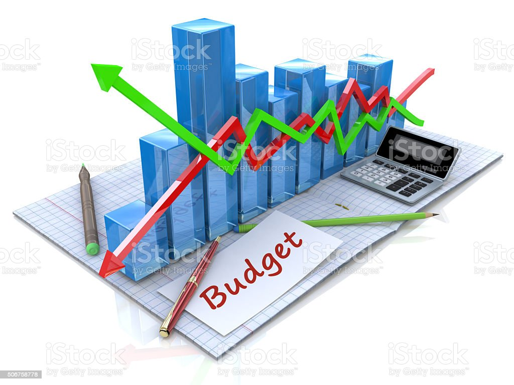 Business analysis, calculation of the budget stock photo