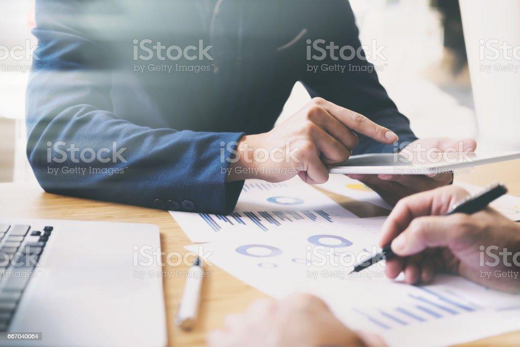 Business analysis meeting training team. stock photo