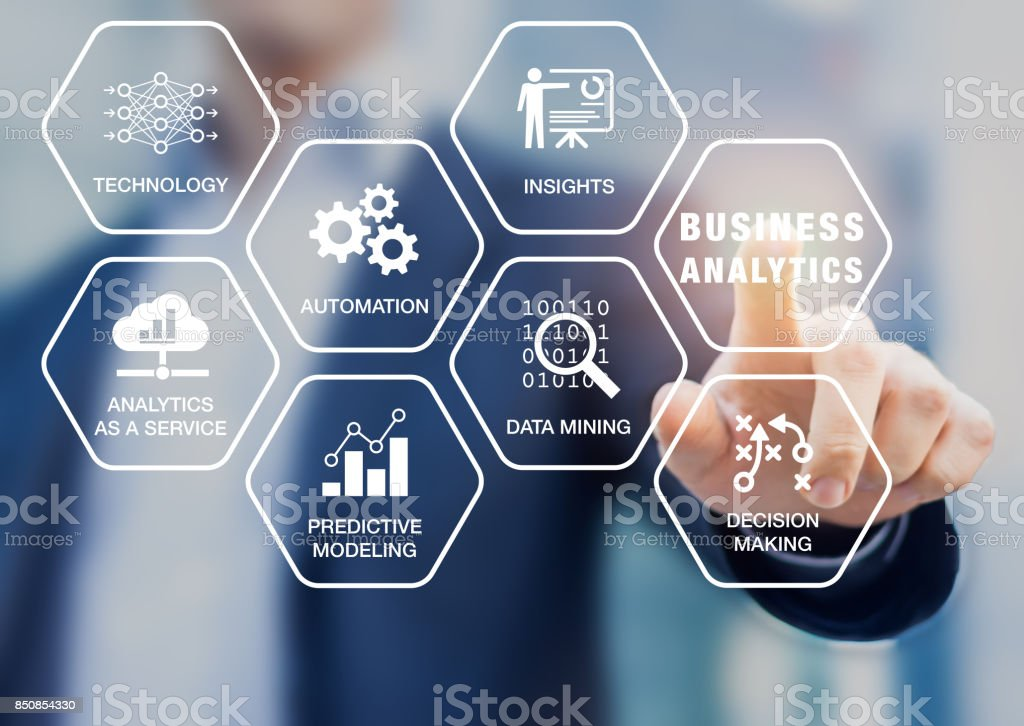 Business Analytics technology concept, icons, businessman, data mining, predictive modeling stock photo