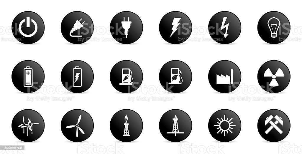 business and electricity internet icons set stock photo