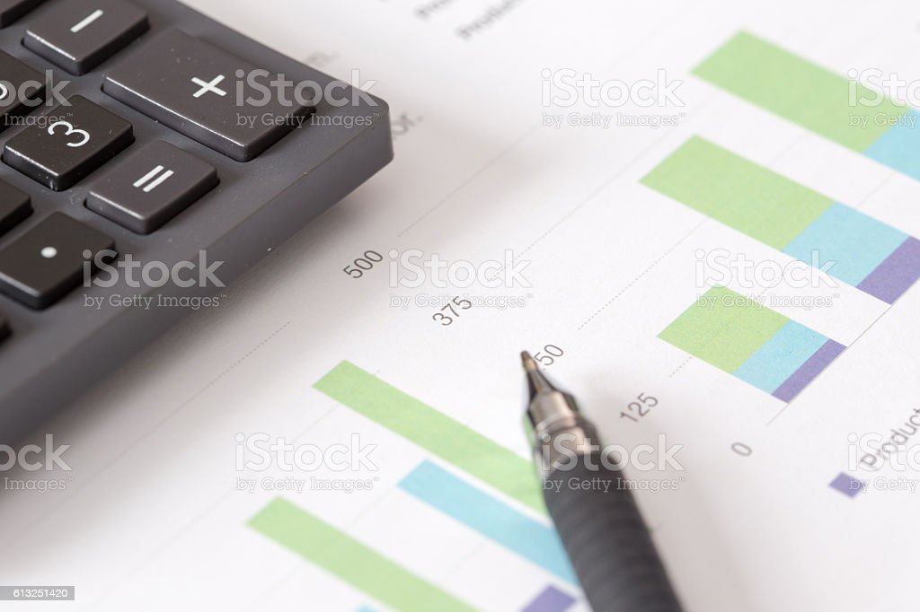 Business and Finance Concept: Business Charts on the Desk stock photo