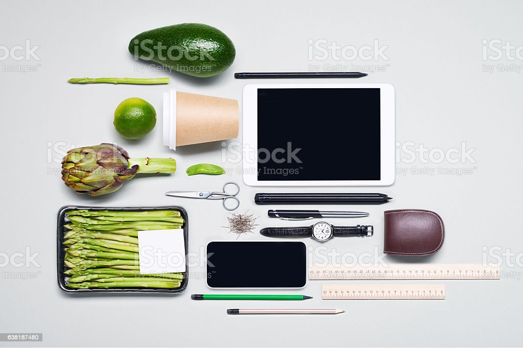 Business and healthy food knolling stock photo