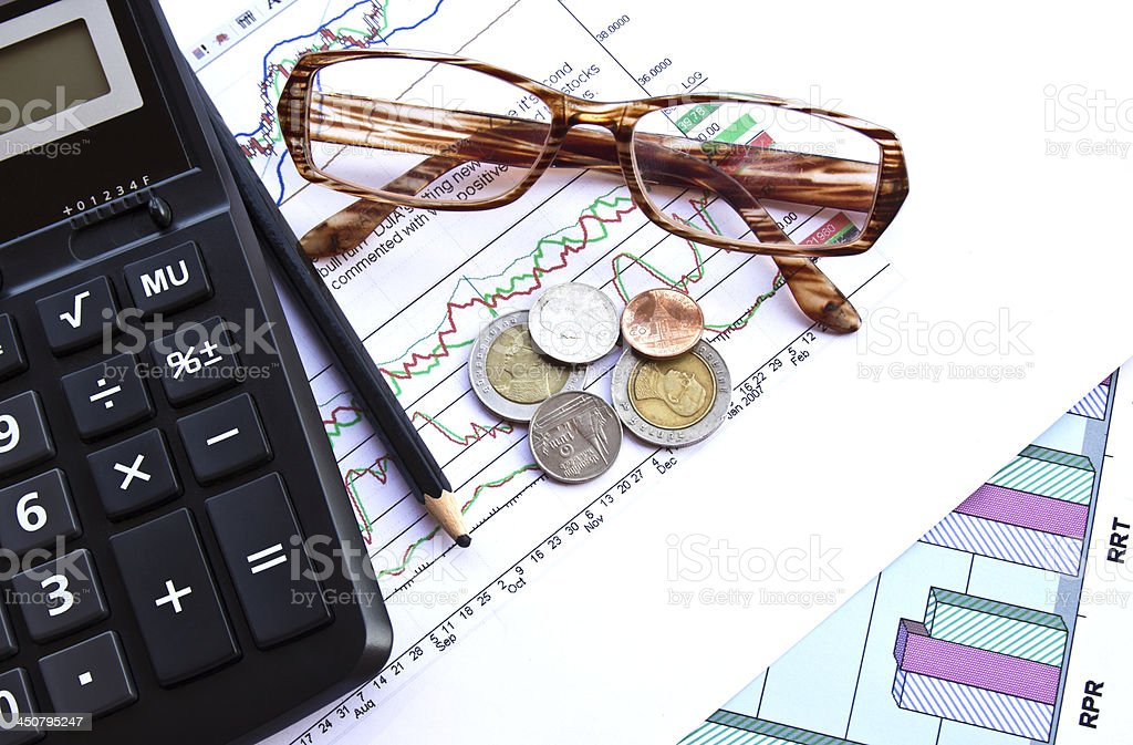 Business and the stock shares reports royalty-free stock photo