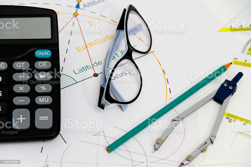 Business Architectural project, pair of compasses, glasses, rule stock photo