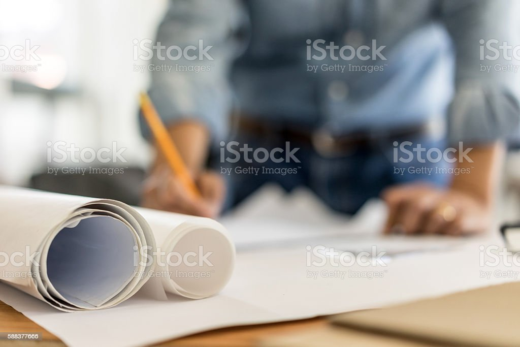 business, architecture drawing on blueprint architectural concep stock photo