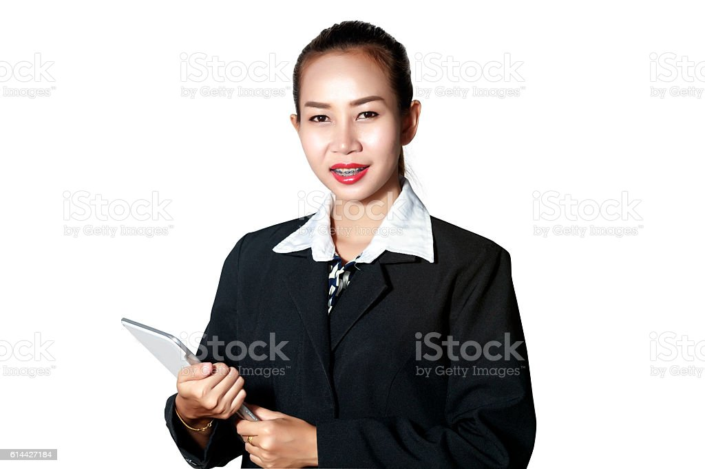 Business asia women using tablet for checked trend stock photo
