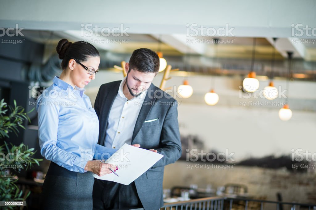 Business associates having business conversation on a meeting at...
