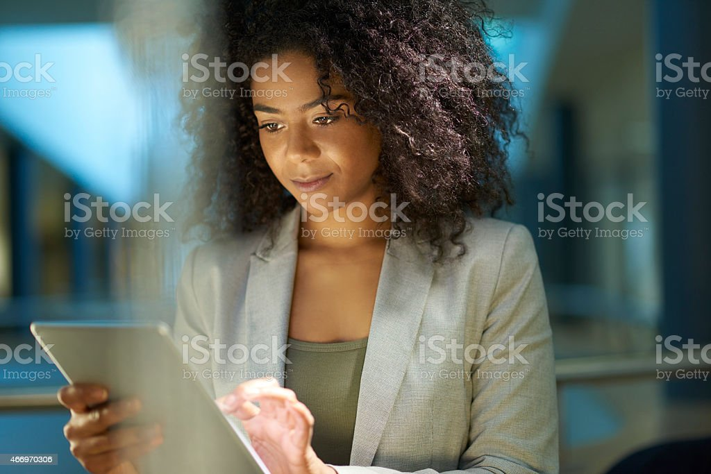 business at her fingertips stock photo