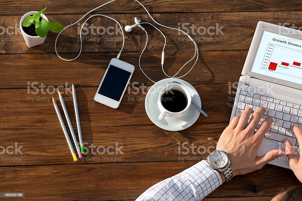 Business at unusual desk concept stock photo