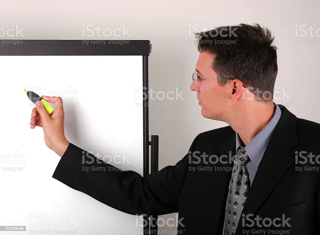 Business at whiteboard stock photo