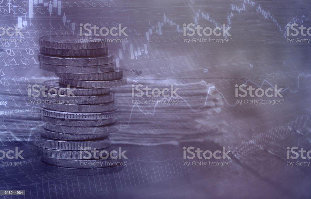Business background multiple exposure. stock photo
