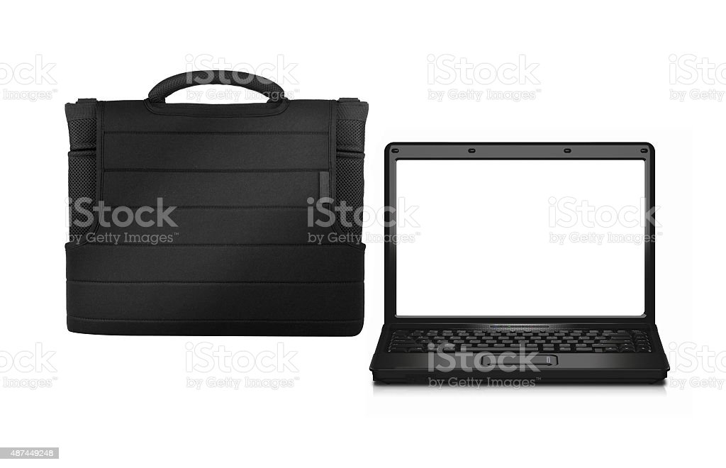 business bag with laptop stock photo
