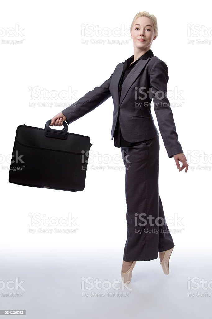 business ballerina with briefcase stock photo