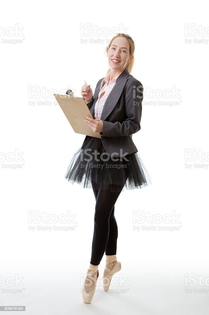 Business ballerina with clipboard stock photo