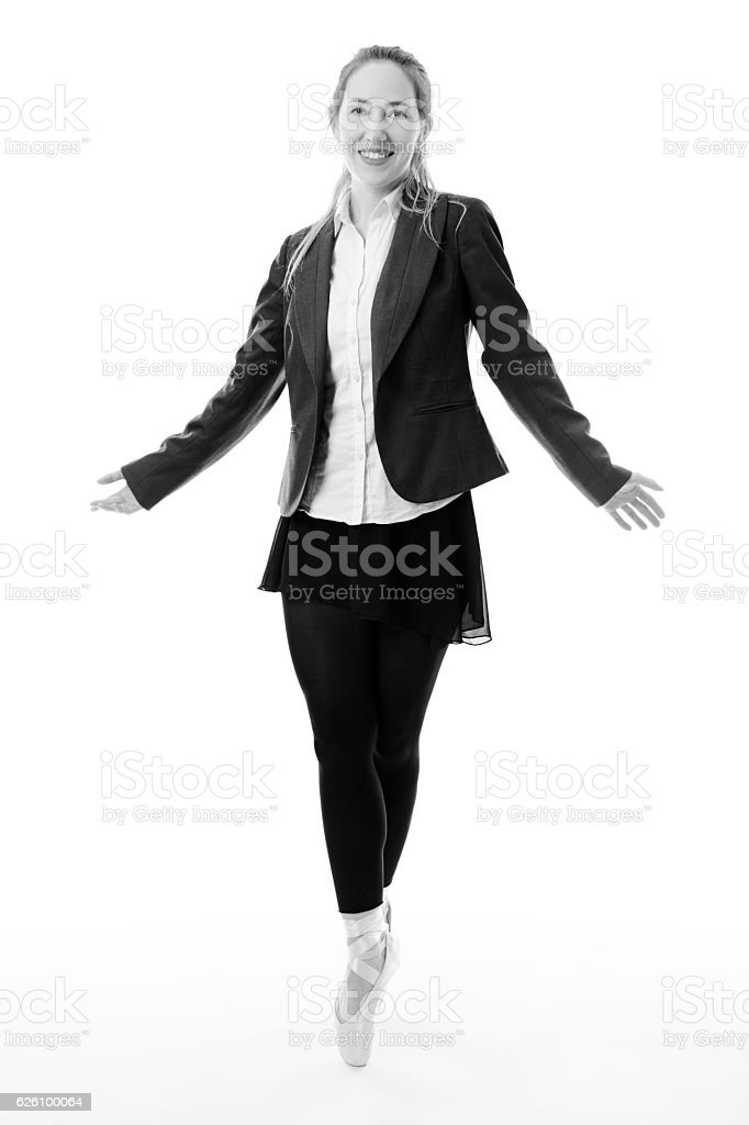Business ballerina with copy space stock photo