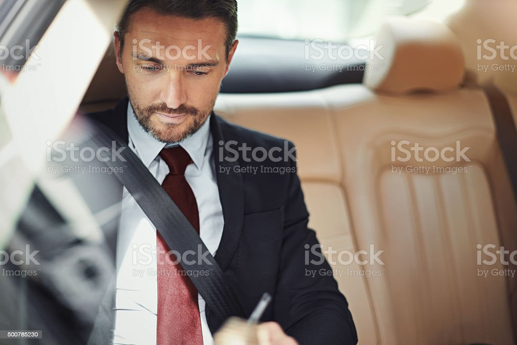 Business begins before he steps into the office stock photo