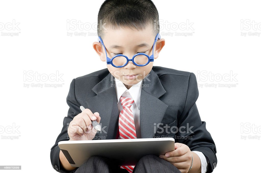 Business boy  with electronic tablet royalty-free stock photo