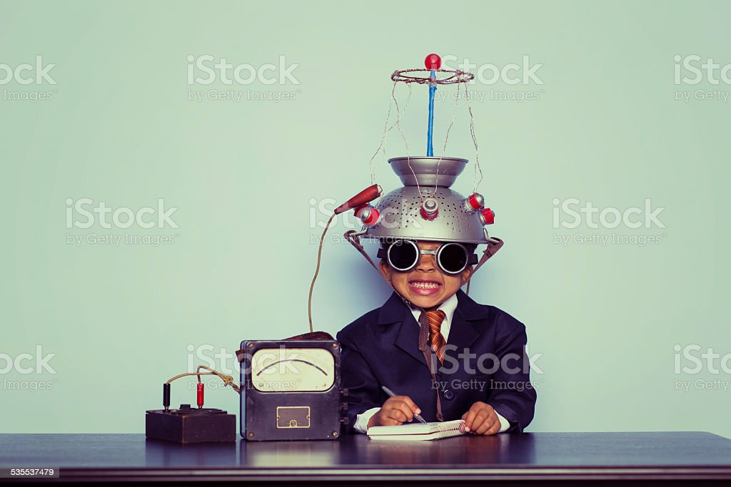 Business Boy with Idea Invention stock photo