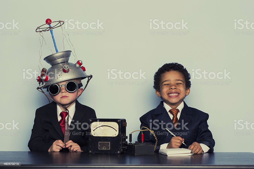Business Boys Conduct Interview in Office stock photo