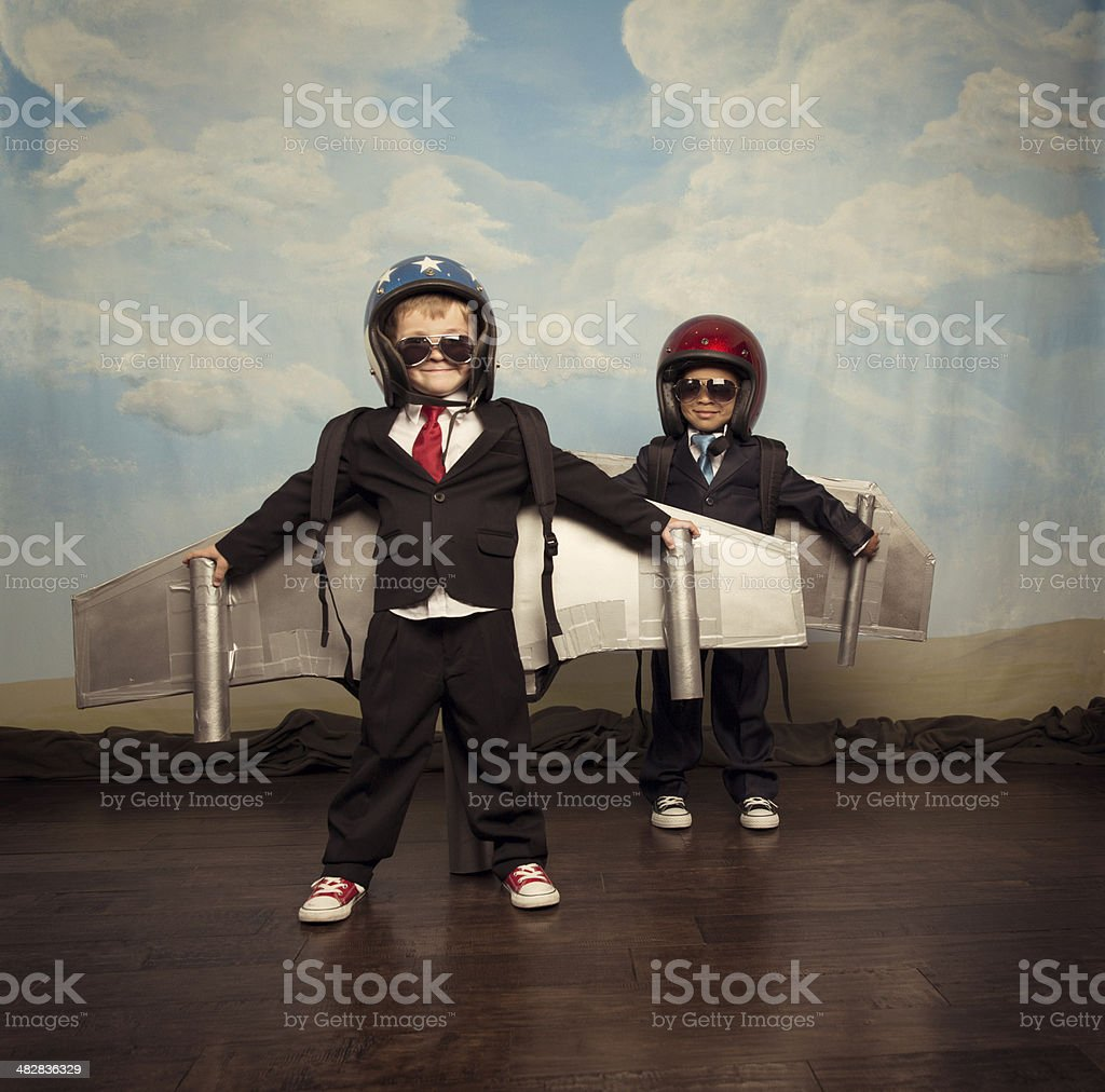 Business Boys Wearing Jetpacks on Stage royalty-free stock photo