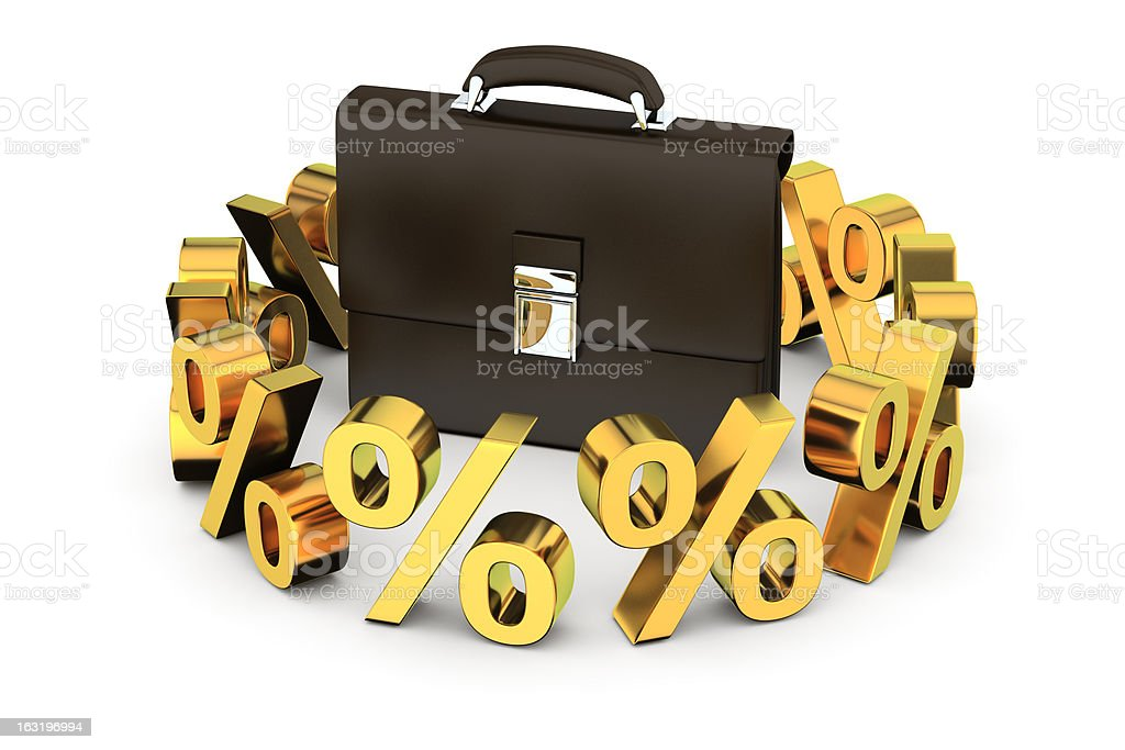 Business briefcase in the ring royalty-free stock photo